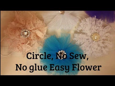 Circle Wrap Flower, no sew no glue, Fabric Flower tutorial, lace, tulle, fabric, chiffon, organza,