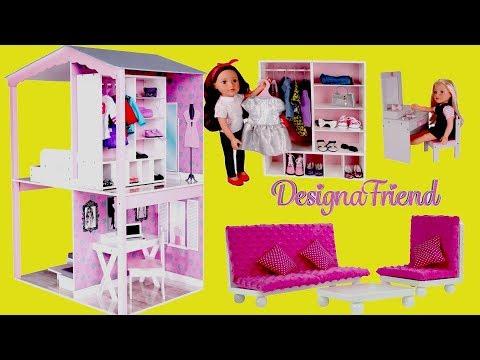 Baby Dolls Dreamhouse Unboxing Assembly Full House Tour - DesignaFriend Dollhouse & Barbie Dollhouse