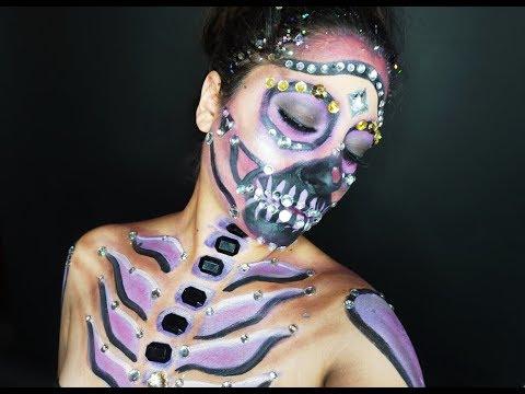 Halloween Makeup Tutorial: Purple Bedazzled Skull