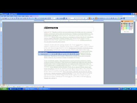 How to create a Document Header in Microsoft Word 2003