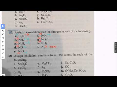 Assign the oxidation state for nitrogen in each of the following