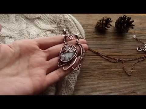Owl necklace - copper wire pendant