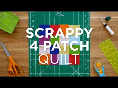 Make an Easy Scrappy 4 Patch Quilt Block - Quilt Snips