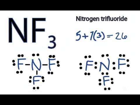 NF3 Lewis Structure - How to Draw the Dot Structure for NF3 (Nitrogen Trifluoride)