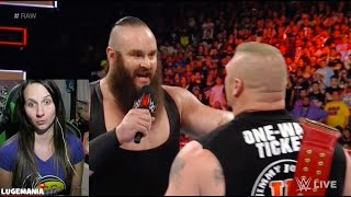 WWE Raw 4/3/17 Braun shoves Brock Lesnar!!