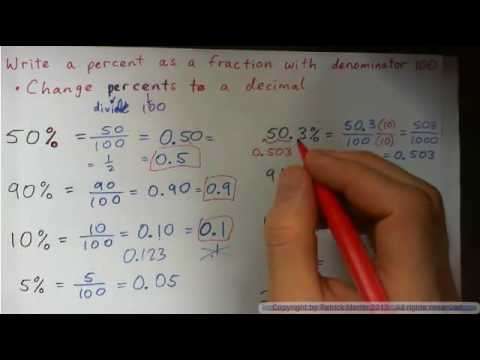 Write a percent as a fraction with denominator 100 - change to decimal