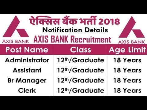Axis Bank Recruitment 2018 | All Over India Jobs | 12th pass Jobs