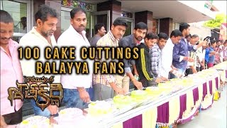NBK Fans celebrate Movie success of Gautamiputra Satakarni with 100 Cake Cuttings