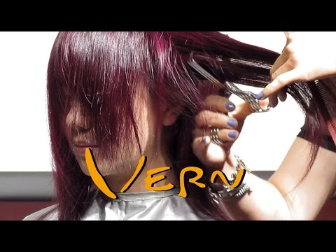 Bob with a rounded Bang/fringe Mid-long contrastive haircuts for lady by Cherry, Vern Hairstyles 22