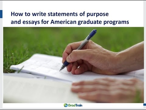 How to write your statement of purpose, personal statement and essay for American graduate programs