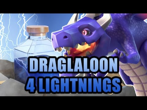Dralaloon & 4 Lightning Spells | TH9 Dragon Attack | Clash Of Clans