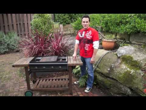 DIY potting bench from a salvaged BBQ