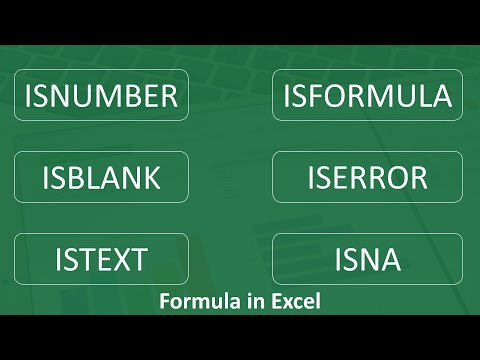 How to use isnumber, istext, isblank, iserror, isformula in Excel