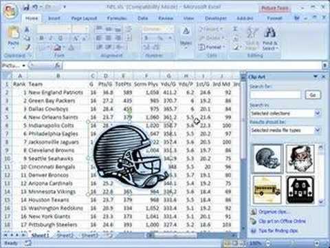 Insert clip art in Excel