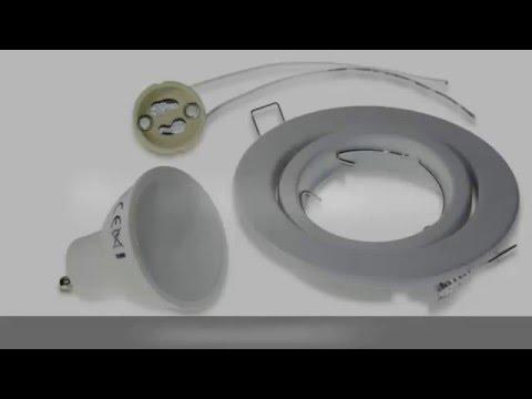 kit spot led encastrable GU10, 7W, avec support orientable et douille