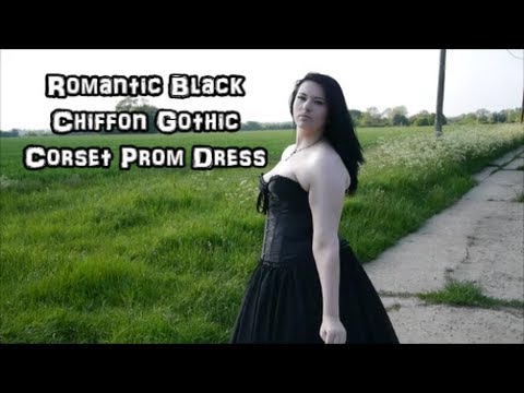 Romantic Black Chiffon Gothic Corset Prom Dress