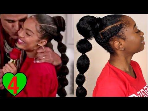Yara Shahidi Grown-ish Braided Bubble Ponytail Tutorial | Natural Hairstyles
