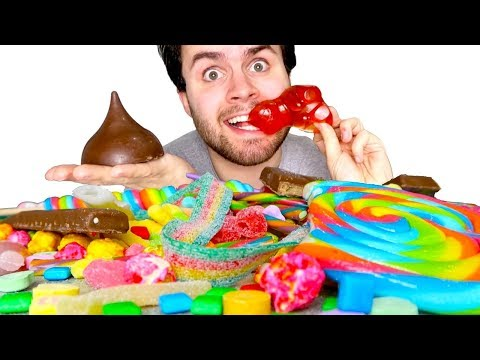 TRYING WEIRD GIANT CANDY! - Huge Gummy Bear, Reese's Candy Bar, & MORE Taste Test!