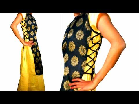 Double layer designer kurti with side Dori cutting and stitching