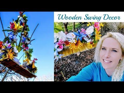 Diy Dollar Tree Spring Decor / Wooden Floral Swing