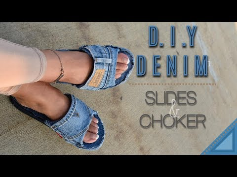 DIY DENIM SLIDES & CHOKER