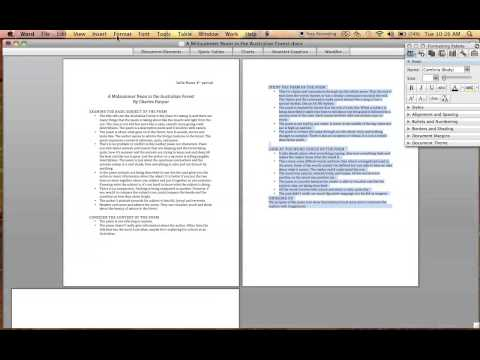 How to Format a document so that one page is Portrait, while the other is Landscape Word 2008