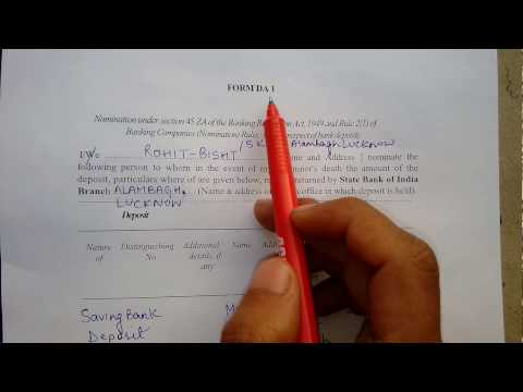 How to fill SBI saving bank account nominations form|| HD ||  Hindi