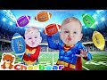FOOTBALL Learn Colors With Colored Footballs And Superhero Babies COLOR SONG For Kids