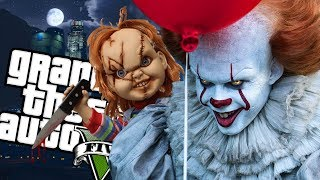 Download The IT ″Pennywise″ Clown VS Childs Play ″Chucky″ MOD (GTA 5 PC Mods Gameplay) Video