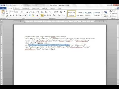 Embedding a YouTube video into a Word document