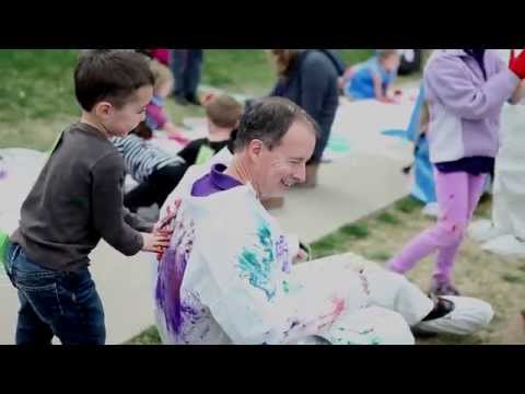 President Wight Finger Paints With Kids