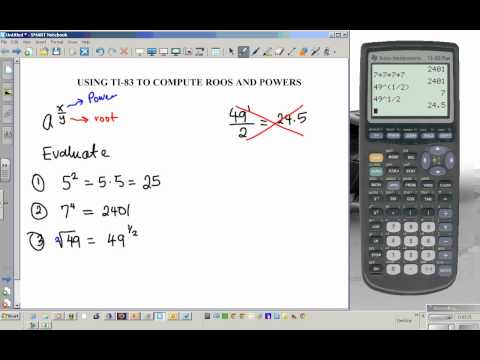 TI 83 tutorial powers and roots exponents