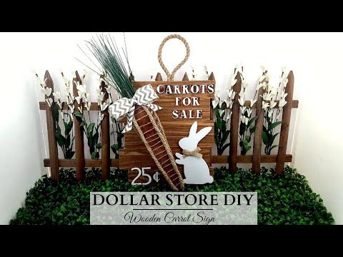 Dollar Tree DIY ~ Wooden Carrot Easter Sign ~ Rustic Spring Home Decor