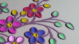 उरेल सुरेल रंगापासून काढलेली सुंदर  रांगोळी डिझाईन by Jyoti Raut Rangoli