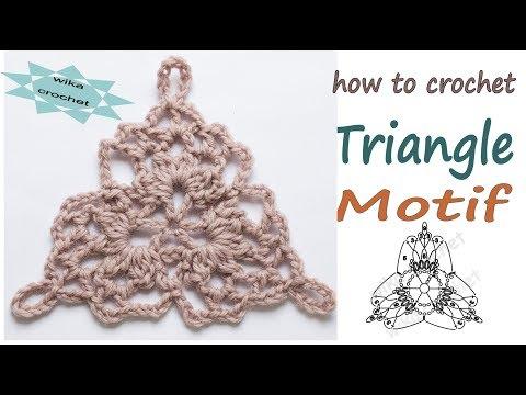 How to crochet Lace Triangle Motif Joining crochet motifs Wika crochet