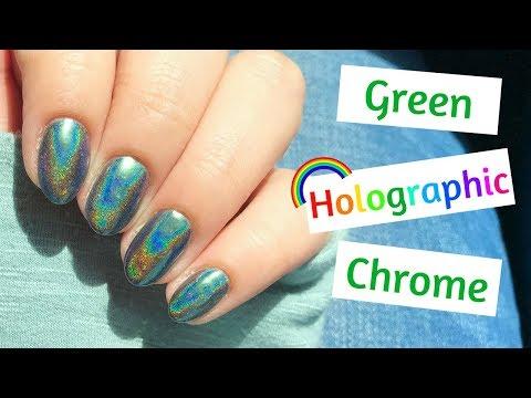 GREEN Holographic Chrome Powder Nails!