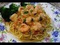 Spaghetti in Creamy Tomato Sauce with Shrimp