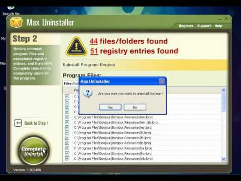 How to Uninstall Bonjour -- Bonjour Removal Tool