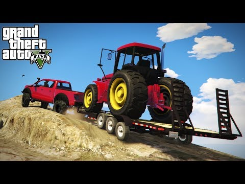 OFF-ROAD TRACTOR HAULING! Loading & 4x4 Transporting Up Mt. Chilliad! (GTA 5 PC Mods)