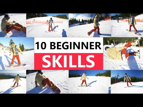 10 Beginner Snowboard Skills - First Day Riding