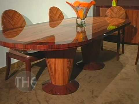 High Gloss Finished Dining Set with Double Pedestal Dining Table by Global USA