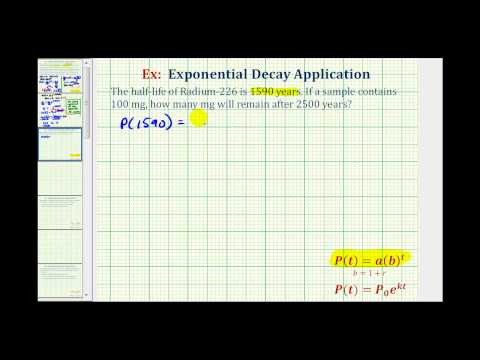 Exponential Decay App  (y=ab^t) - Given Half Life