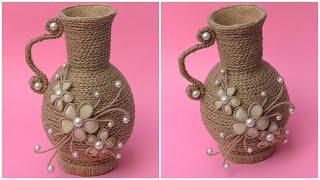 DIY Jute Rope Flower Vase/ Making Jute Vase At Home/ easy diy jute vase