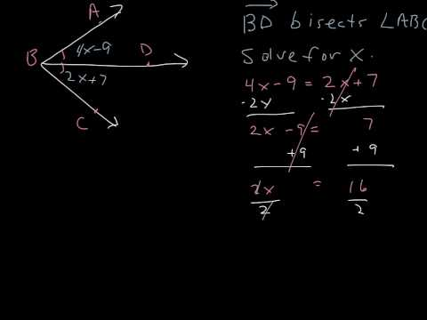 Bisector of an angle: find x