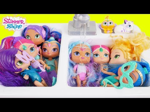 Shimmer and Shine Morning Routine in Kitchen Sink
