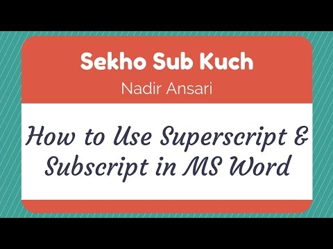 How to Use Superscript & Subscript in MS Word [Urdu / Hindi]