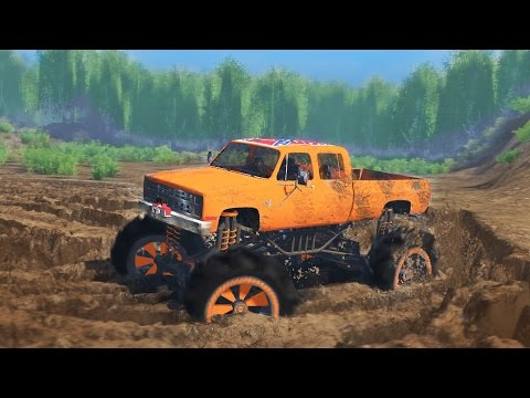 MUDDING CHALLENGE! Chevy Mud Truck 4x4 Off-Roading, Mudding, & Hill Climbing! (SpinTires)