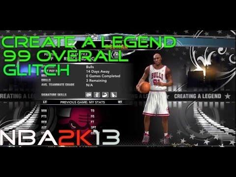 NBA 2K13: 99 Overall Create A Legend Glitch/quick YouTube update