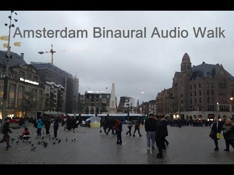 Amsterdam Rainy Windy Day 3D Audio Walk (Headphones Advised!)