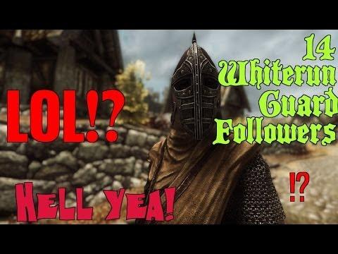 Skyrim- 14 Whiterun Guards as follower! :D